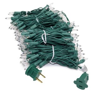 LED Christmas lights warm white green wire